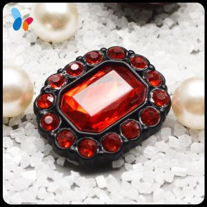 High Quality Fancy Red Stone Button Oval Crystal Plastic Button for Coat pictures & photos