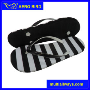 Cute Girl PE Sandal Slipper with Double Color Straps
