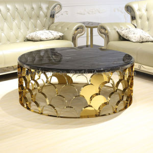 China New Design Round Gold Stainless Steel Marble Top Coffee