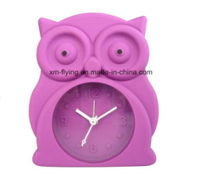 Creative Owl Shape Home Decoration Twin Bell Mute Silicone Desk Alarm Clocks pictures & photos