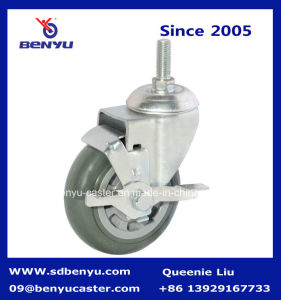 Grey Polyurethane Swivel Casters Wheel with Side Lock Brake pictures & photos