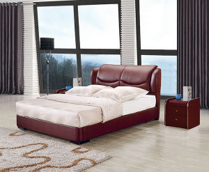European King Bed Bedroom Furniture Luxury Leather Bed pictures & photos