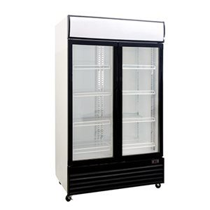 double sliding glass door showcase fridge 600l upright supermarket showcase