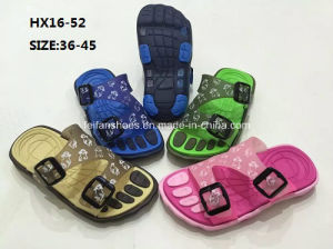 Lady and Men′s Colorful Casual Summer Beach Slipper PVC Slipper Sandal Shoes (HX16-52) pictures & photos