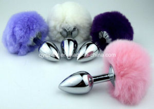 Yellow Color Rabbit Tail with Metal Anal Plug, Sex Product for Male and Female, Butt Plug with Tail pictures & photos