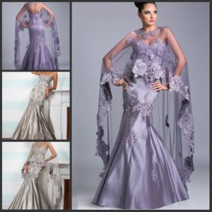 Tulle Shawl Satin Mother of The Bride Dress Lace Shawl Evening Dresses B1419 pictures & photos