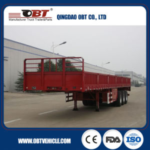 Tri-Axle 40FT Flatbed Semi-Trailer with 600mm Sidewall pictures & photos