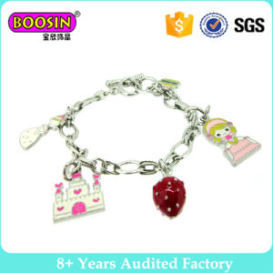 Lovely Silver Plated Charm Bracelet with Tower and Strawberry pictures & photos