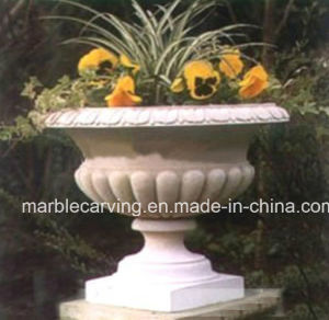 Hand Carved Garden Stone Beige Planter, Marble Flowerpot pictures & photos