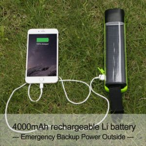 Multi-Functional Solar Power 200-Meter-Lighting 1W 5-LED Torch Flashlight with 4000mAh Battery Powerbankd K01