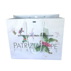 Customized White Color Paper Handle Styled Gift Bag with Cmyk Printing