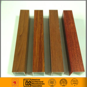 Wooden Grain Aluminum Tube and U Shape Side Groove pictures & photos