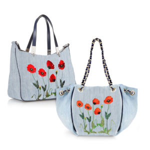 Trendy embroidered flower Lady Jeans Handbag(JD-2) pictures & photos