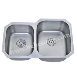 9 Inches Deep 40/60 Kitchen Basin, 304 Stainless Steel Sink, Bar Sink pictures & photos