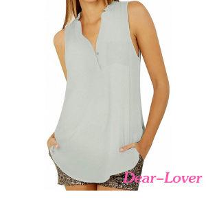 Fashion Button V Neck Sleeveless Chiffon Blouse pictures & photos
