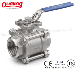Three Pieces Threaded Ball Valve with Direct Mounting Pad pictures & photos