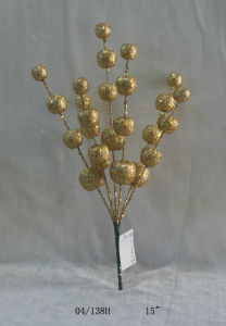 15′′ Golden Glight Plastic Ball Cuttings Twig for Christmas Decoration