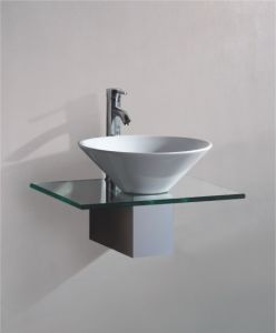 Solid Wood Bracket Glass Wash Basin (7058) pictures & photos