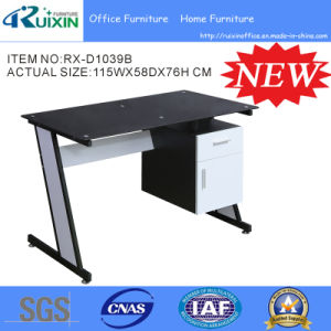 2016 Factory Black Glass Computer Table with File Cabinet Rx-D1039B