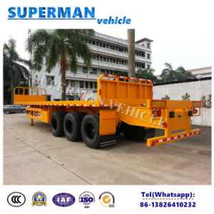 Tri Axle Flatbed Heavy Cargo Truck Semi Trailer with Crane pictures & photos