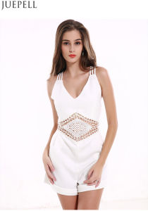 Summer Explosion Models in Europe and America Sexy V-Neck Sleeveless Halter Women Jumpsuit Shorts Solid Color Stitching Hollow pictures & photos