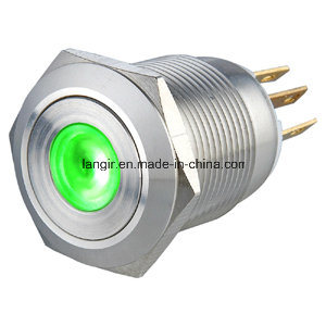19mm Flat Head Momentary 1no1nc Stainless Steel Push Button Switch pictures & photos
