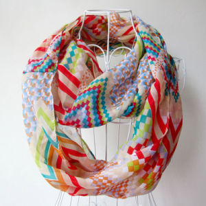 Lady Fashion Geometry Printed Polyester Chiffon Spring Infinity Scarf (YKY1093) pictures & photos
