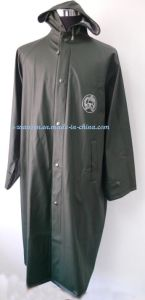 Dark Green Long PU Raincoat with Reflective Strip and Logo pictures & photos