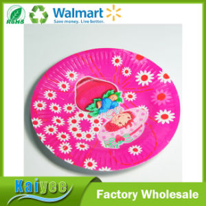 Paper Tableware Manufacturer Pink Round Disposable Paper Plate for Party pictures & photos
