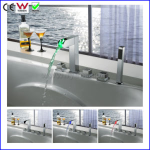 5 PCS Set Hydraulic LED Bath&Shower Faucet Bathtub Tap (FD15305F) pictures & photos
