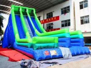 Blue Green Inflatable Slide with Air Bag Jump (CHSL415) pictures & photos