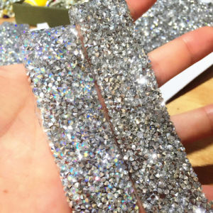 3cm Width 100 Yard Roll Crystal Ab Color Rhinestones Mesh Trim Strass Chain Banding Crystal Trimming (TS-037) pictures & photos