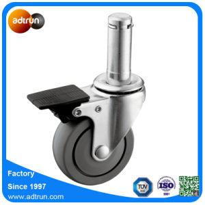 Total Brake Castor, 3inch Polyurethane Wheel, Grip Ring Stem Mounting Caster pictures & photos