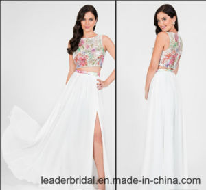 Printing Flora Evening Gowns Beads Side Split Prom Party Dresses Z5021 pictures & photos