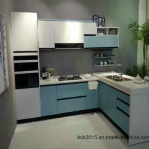 North-American Project Modular MDF Red and White Gloss Paint Kitchen Cabinets pictures & photos