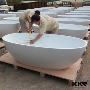 Oval Bath Acrylic Solid Surface Bathtub for Hotel Project pictures & photos