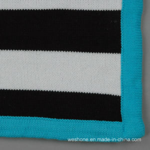 Soft Stripe Sweater Knit Cotton Baby Blanket pictures & photos