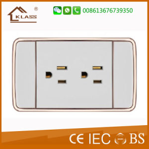 Fire Resistant PC Double 3pole Light Switch Socket pictures & photos