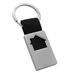 Competitive Wholesale Ribbon Llavero House Keychain with Customer Logo (F1067A)
