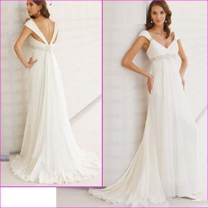Cap Sleeves Chiffon Wedding Dress V-Neck Empire Beach Bridal Gown H022 pictures & photos