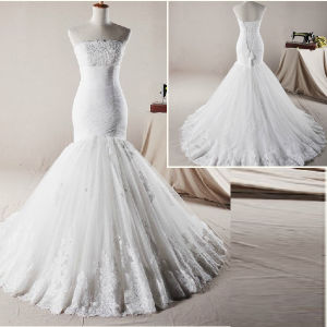 Strapless Bridal Dresses Chiffon Lace Mermaid Real Picture Bridal Wedding Gown H13342 pictures & photos