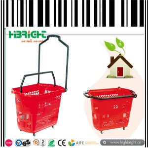 Plastic Wheeled Rolling Shopping Baskets pictures & photos