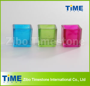 Square Shape Colorful Glass Candle Holder pictures & photos