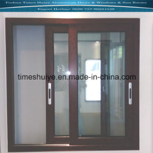 Aluminum Sliding Windows with Two Panels and Teak Color pictures & photos