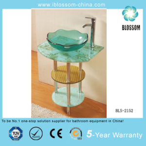 Freestanding Clear Glass Bathroom Cabinet (BLS-2152) pictures & photos