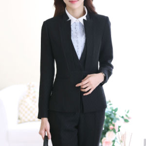 Ladies Black Blazer and Skirt Set, Women Business Suits pictures & photos