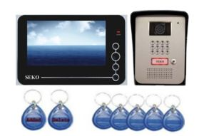 7 Inch Hands Free 4 Wires Color Video Door Phone with ID Card and Password