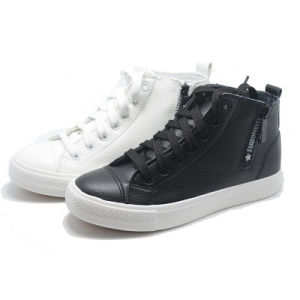 Side Zipper Classical Leather Women Men Casual Rubber High Shoes pictures & photos