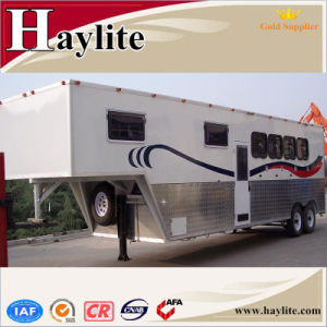 China Gooseneck Single 2 Horse Box Trailer with Ramp Door Windows Dividers Rubber Mats Living Quarters for Sale pictures & photos