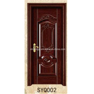 Solid Wood Skeleton Non-Painting PVC Film Finished Interior Wood Door pictures & photos